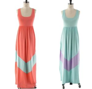 Pastel Pink and Mint Chevron Maxi Lady Dress (Hsm205)