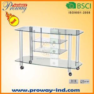 Tempered Glass TV Stand TV Table with 4-Tier Shelves pictures & photos