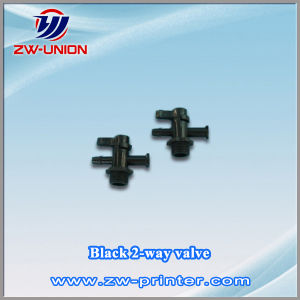 Black 2-Way Valve for Challenger Solvent Printers
