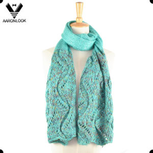 Jacquard Knit Soft Mohair Sequins Scarf pictures & photos