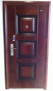 Panel Design Walnut Colour Steel Security Door pictures & photos