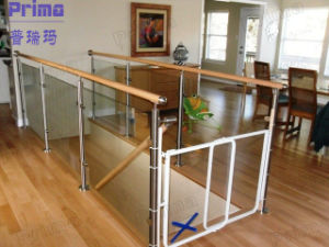 Glass Balustrade with PVC Handrail / Stairs Railing Glass Railing Pr-B1078 pictures & photos