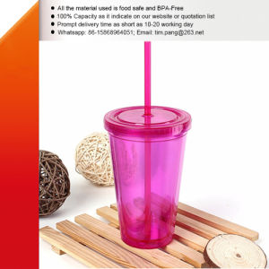 Colored Acrylic Plastic Straw Tumbler pictures & photos