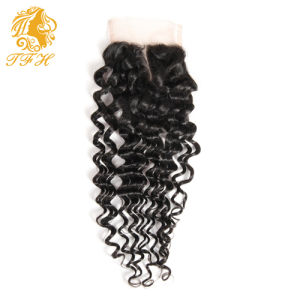 4*4 Lace Closure with Bundles Brazilian Virgin Hair Deep Wave with Closure 4 Bundles Human Hair with Lace Closure pictures & photos