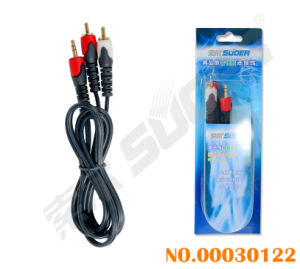 3.5mm Stereo to 2 RCA Audio/Video Cable (AV-102-1.5m-gold-bold) pictures & photos