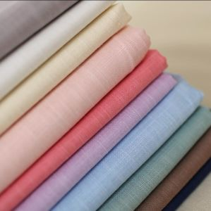 95% Cotton 5% Spandex Linen Look Slub Washed Woven Fabric pictures & photos