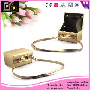 Gold Color Luxury PU Leather Hand Bag Make up Box (8087) pictures & photos
