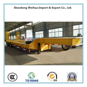 60t Tri-Axle Lowbed Semi Trailer with Hydraulic Steering Axles pictures & photos