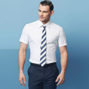 Mens 100% Cotton High Quality Short Sleeve Slim Business Shirts with Pointed Collar pictures & photos