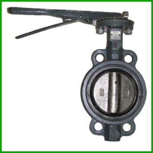 Grey Iron Lever Handle Rubber Seal Wafer Butterfly Valve pictures & photos