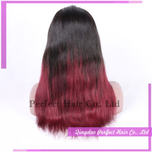 Long Bright Straight Black and Red Human Hair Wig pictures & photos