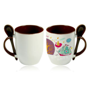 Brown Color Sublimation Ceramic Mug with Spoon pictures & photos
