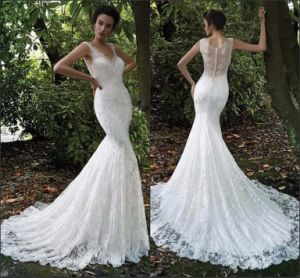 Sleevless Bridal Gown Lace Mermaid Backless Wedding Dress Z2073 pictures & photos