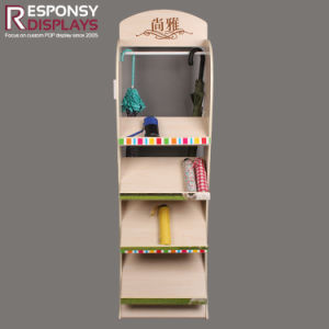 Promotion Customized Four-Tier Floor Wood Umbrella Display Shelf pictures & photos