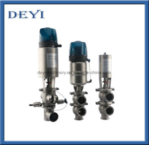 Stainess Steel Sanitary Pneumatic Stop Reversal Reversing Valve with Control Head pictures & photos