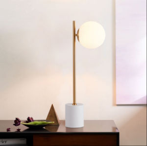 Luxury Post Modern Bedroom Glass Shade Desk Table Lamp with Marble Base for Reading pictures & photos