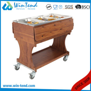 Professional Design Heavy Duty Wooden Serving Trolley Cart for Gn Pan pictures & photos