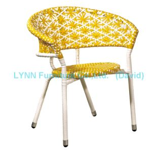 Mixed Color Yellow and White Round Stacking Chair Rattan Chair pictures & photos