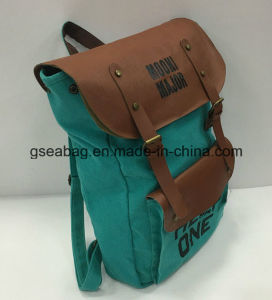 Fashion New Designed Real Leather Canvas Backpack Travel Sport Casual Bag (GB#20080) pictures & photos