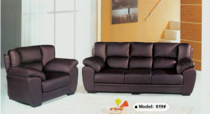 Black Leather Sofa, Office Sofa, Living Room Sofa (Q619) pictures & photos