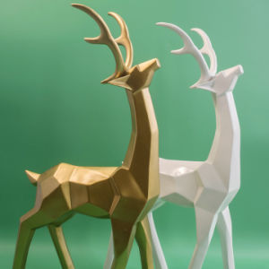 New Golden Polyresin Elk Statue for Christmas Decoration pictures & photos