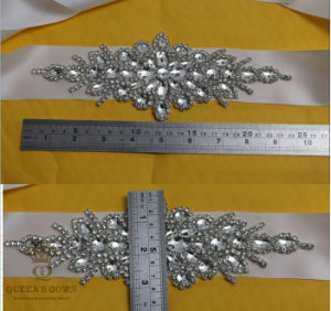 Bridal Crystal Beaded Applique Sash Wedding Rhinetones Trim for Dress