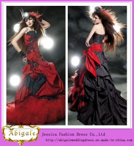 Designers Floor Length Mermaid Sweetheart Neck Appliqued Red and Black Wedding Dresses (WD22) pictures & photos