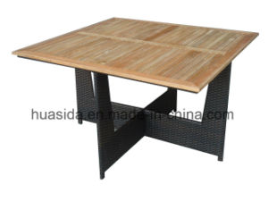 Square Outdoor Rattan Dining Table with Teak Top pictures & photos