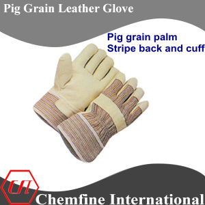 Stripe Back Cuff, Full Palm, Red Pig Grain Leather Work Gloves pictures & photos
