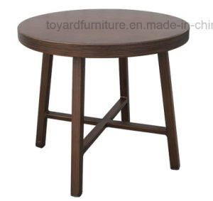 Outdoor Indoor Commercial Hotel Home Use Antique Metal Frame with Wooden Textures Round Side Table pictures & photos