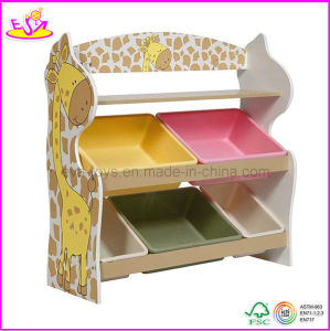 2015 New and Popular Design Wooden Toy Organizer for Kids with 5 Plastic Bins, 2 Tier Wooden Toys Storage Organizer W08c033 pictures & photos