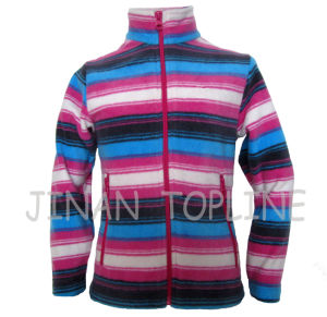 Children Stitching Colour Full Zipper Cationic Dyed Microfleece Jacket pictures & photos