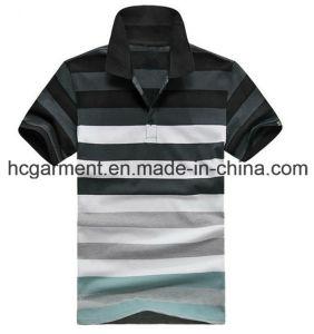 Men′s T-Shirt, Cotton Black Color Strip Polo for Man /Lady pictures & photos