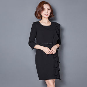 Design Half Sleeve Lady Office Slim Fit Formal Business Dress pictures & photos
