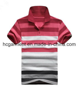 Men′s T-Shirt, Cotton Red Color Strip Polo for Man pictures & photos