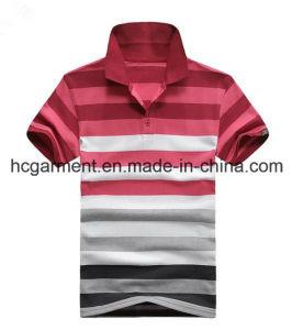 Men′s T-Shirt, Cotton Red Color Strip Polo for Man pictures & photos