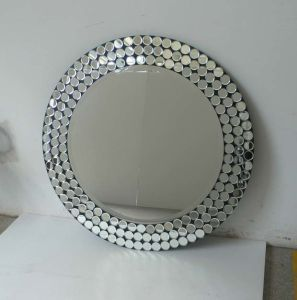 100% Hand Craft Clear Round Mirror with Shining Dots (GJ686A)