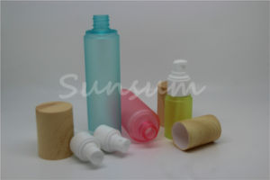 Bamboo Fiber Material on Cylinder Wood Pet Plastic Cosmetic Bottle pictures & photos