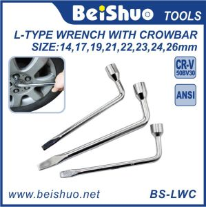 L Type Slotted End Socket Lug Wrench with Crowbar pictures & photos