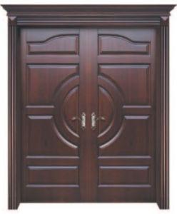 Mahogany Double Solid Entrance Wooden Door for Villa pictures & photos