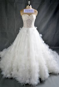 Strapless Crystal Beading Wedding Dresses with Long Trail pictures & photos