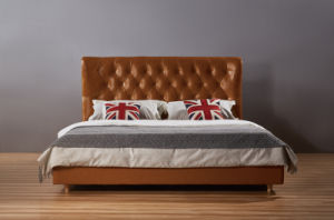 High Head Board Leather Bed, Modern Bed (B003) pictures & photos