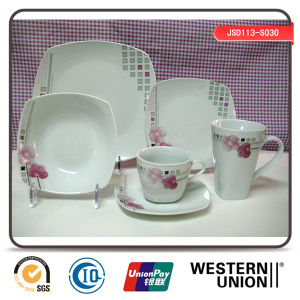 Floral Decal Porcelain Dinnerset in Square Shape