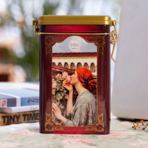 Rose Black Tea Tin Canister with Airtight Plastic Cover pictures & photos