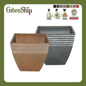 Decorative Handmade Line Square Flower Pot S38---Green Ship