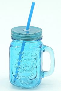 Blue Mason Jar Multi Colored Lid with Handle Straw pictures & photos