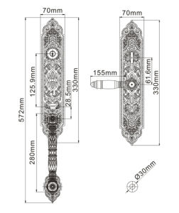 Antique Style with Classic Patterns Solid Brass Door Lock pictures & photos