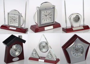 Luxury Rotate Table Clock K5003G Skeleton Clock Kit Gift Clock Set Business Souvenir Giveaway pictures & photos
