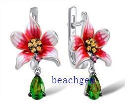Sterling Silver Epoxy Resin Flower Earrings (E307322)