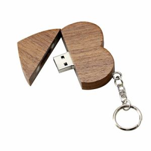 Wooden Personality Creative Gift Customized Wood Heart-Shaped USB Flash Drive USB2.0 Flash Drive 4G 8GB 16GB 32GB 64GB pictures & photos